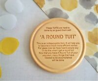 A Round Tuit Sycamore Wooden Coaster, Engraved Novelty Gift for Christmas Funny