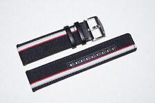 Genuine Porsche Leather Canvas Watch Strap Band Black 22mm for BREITLING