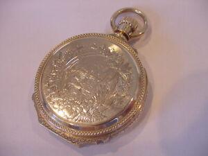 MASSIVE 14k SOLID GOLD 18s BOXED HINGE WALTHAM 1889 HUNTING BARREL CASE WATCH!
