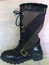 $1695 Authentic BURBERRY  High Weather Mega Check Shearling Snow Boots. Size- 40