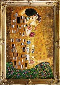 Gustav Klimt - The Kiss - 64x84cm Oil Painting Hand Painted Canvas Frame
