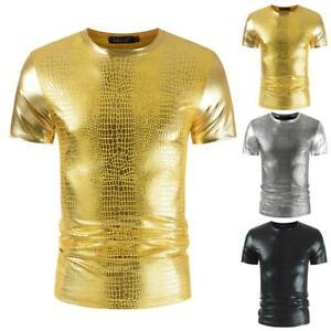 Herren Sommer Kurzarm T-Shirt Slim Fit Sport Muscle Shirt Glänzend Wet-Look Tops