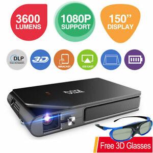 EUG 3600LMS WiFi DLP 3D Projector 1080P Full HD Wirelessly Bundle 3D Glasses US