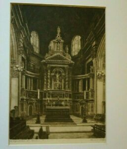 The High Alter. St PAULS CATHEDRAL 1930's ETCHING. ERNST EDWIN ABBOT 1888-1973