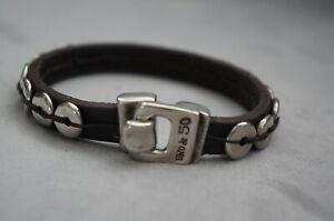 "NEW Uno De 50 UNISEX Brown Leather Silver Disk 7.5"" Wrap Bracelet RETIRED"