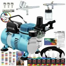 Master Airbrush Compressor Kit with 2 Airbrushes and 6 Acrylic Paint Colors - KITSPCRE3AIR