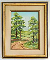 Vintage Painting Folk Naive Boy Walks Country Road Farm Field House Brennan Ulko