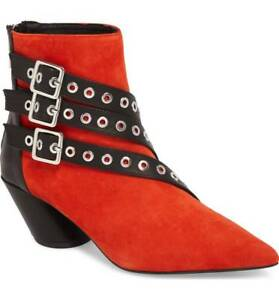 Shellys London Frasier Red Suede Grommet Buckle Strap Angled Block Heel Boot
