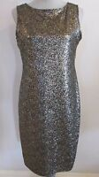 NWT ONYX NITE  BLACK & GOLD METALLIC SPARKLE SLEEVELESS COCKTAIL DRESS