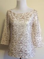 """Banana Republic Size 6 Ivory Shirt With Gold Sequins 3/4"""" Sleeve Top Boat Neck"""