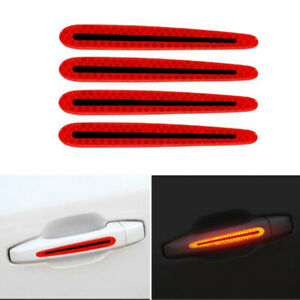 4pcs Red Night Reflective Car Door Handle Sticker Strips Safety Warning Decal