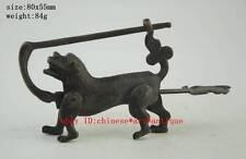 Chinese antique ancient Auspicious 12 Zodiac animal dog lock statue