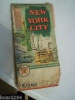 VINTAGE 1961 NEW YORK CITY STREET MAP TEXACO GAS PROMO RAND McNALLY MUST SEE
