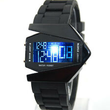 LED Digital Herrenuhr Armbanduhr Fliegeruhr Datum Mann Sport Militär Silikon Uhr