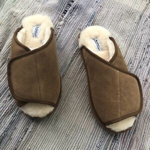 The Vermont Country Store Slippers Mens 14 Sheepskin Suede Shearling Adjustable