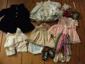 Mixed LOT Vintage Doll Clothes Hats Coat Shoes Socks Dresses Pantaloons Pants