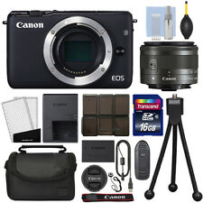 Canon EOS M10 Mirrorless Digital Camera with 15-45mm STM Lens Black + 16GB Kit