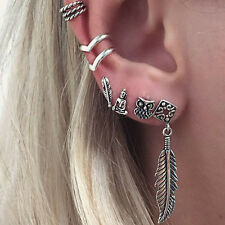 6Pcs Bohemia Women Retro Silver Owl Leaf Ear Stud Cuff Wrap Earrings Set Gothic