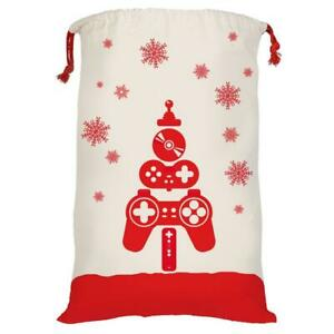 """Gamers Holiday Xmas Gift Bag Canvas Big 19x27"""" Video Game Controllers Snowflakes"""