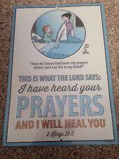 "Cartoon Family Circle Little Boy Praying Metal Sign -Multi Color, New, 9' x 12"""