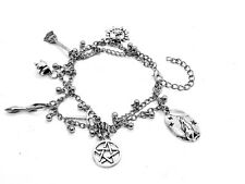Pagan Wiccan Ankle Anklet Wrist Double Chain Charm Bracelet Bead Silver Tone