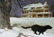 Vintage Art James Wyeth VP US House 1996 Christmas Morning White House Black Dog