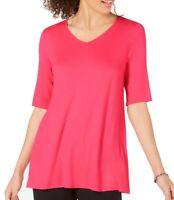 Alfani Women's Flamenco Pink Size Medium M V-Neck Swing Knit Tunic $39 642