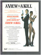 View To A Kill 1985 ROGER MOORE James Bond 007 Movie Vintage Sheet Music