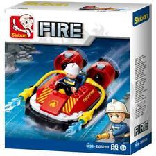 New Sluban Kids Fire Boat Hoovercraft with Water Hose Building Blocks 86 Pcs