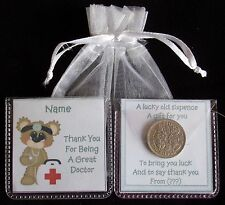 PERSONALISED LUCKY SIXPENCE THANK YOU DOCTOR NURSE GOOD LUCK KEEPSAKE GIFT