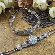 free shipping NEW DIY Tibetan silver Blue fashion beaded bracelet  S173B