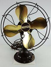 "Antique Eskimo Brass Fan, 12"" Oscillating 1920's Model 45 United Electrical Mfg"