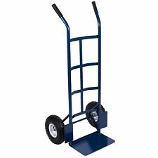 Hand Sack Truck Trolley Industrial Heavy Duty Pneumatic Tyres Cart Blue