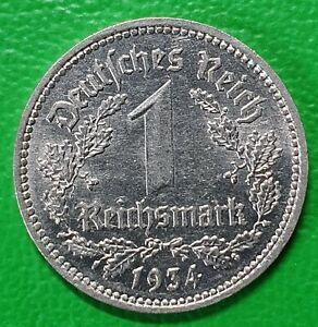 1 Mark Reichsmark Stück 1934 A Deutsches Reich Reichsadler alte Münze