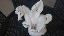 Pegasus Statue White Ceramic Winged Horse Figurine Greek Roman Asian Mythology