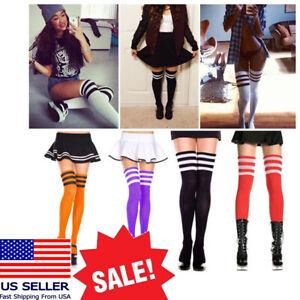 Sexy Goth Punk Rock Athletic Ribbed Thigh Hi Striped Contrasting Long Socks OS