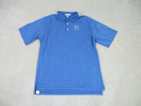 Peter Millar Polo Shirt Adult Large Blue White Golf Golfer Casual Rugby Men A36