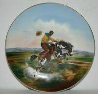 Antique Western Cowboy Plate Bucking Broncho German Plate Western Americana
