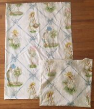 Vintage American Greetings Holly Hobbie Bed Sheet Set Flat Fitted Material Girl
