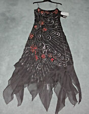 MR K: Size: 10. Stunning Black/Ruby/Silver Beaded RaySequin, Hanky-Hemline Dress