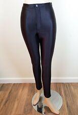 "AMERICAN APPAREL BLACK SHINY SPANDEX DISCO PANTS High Waisted sz M 28"""