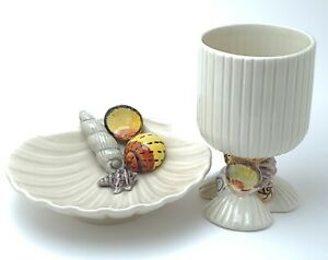 Vintage Fitz And Floyd Oceana Seashell Clam Shaped Dish And Goblet Cup 1975