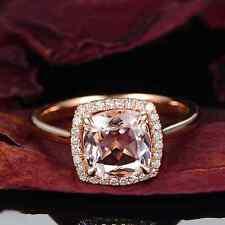 Estate 1.96ct Solid 14K Rose Gold Natural Brazil Morganite Diamond Gorgeous Ring