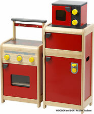 *NEW childrens Retro Kitchen STOVE + REFRIGERATOR + MICROWAVE pretend play cubby