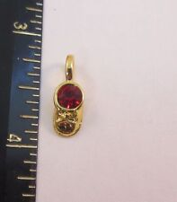 14KT GOLD EP JULY - RUBY BABY SHOE BIRTHSTONE CHARM PENDANT