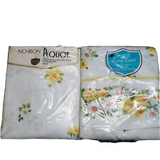 New listing Vtg Maytime Pequot Flat and Fitted Sheet Set Yellow Daisy Floral Twin No Iron