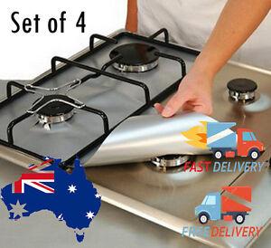 Reusable Non Stick Foil Reuseable Stove Top Burner Protector Liner Cover 4PCS
