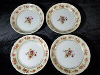 "4 Soup Bowls Occupied Japan Gold Castle Floral Pink Yellow Blue Flower 7.75"" VTG"