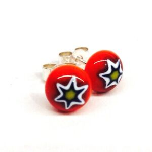Murano Glass Millefiori Stud Earrings - Red & Yellow Star on Sterling Silver.