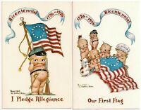 2 Postcard Lot Nude Bicentennial Flags Rose O'Neill-inspired by Florence Baker